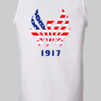 "37e2adc049331 Milburn Patriotic Logo Sleeveless Ladies ""Softstyle"" Muscle Shirt – White"