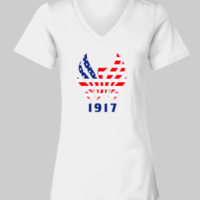 77bf7f7aca841 Milburn Patriotic Logo Short Sleeve Ladies V-Neck T-Shirt – White